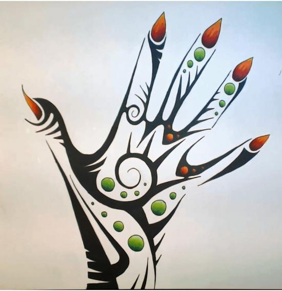 Tribal hand (Time lapse on YOUTUBE)