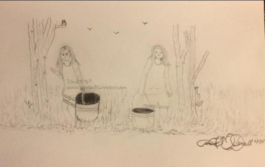 Drawing of grand daughters