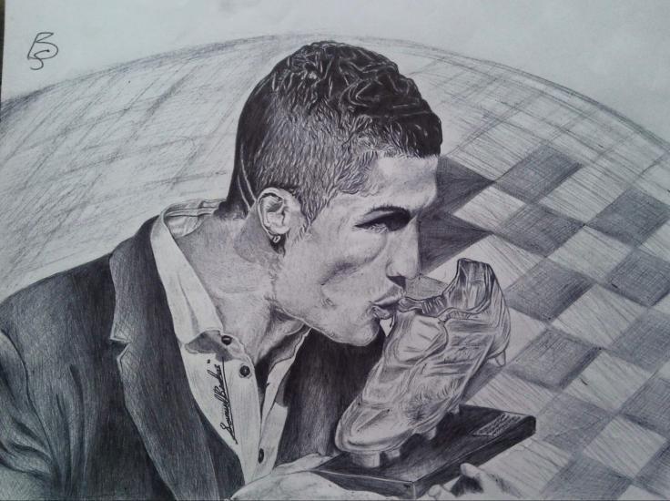 Cristiano Ronaldo kissing Golden Shoe