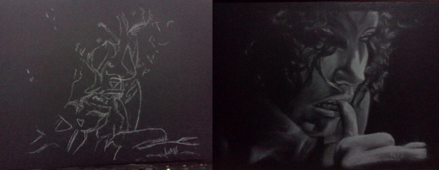 white chalk on black cardboard
