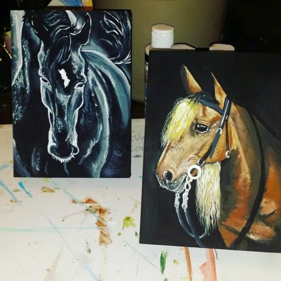 Horses paintings- Lizzywhothefunkc Creations