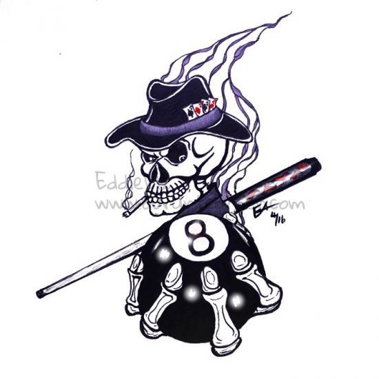 8 ball skull tattoo design
