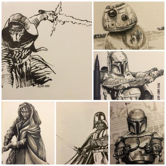 Star wars sketch collage