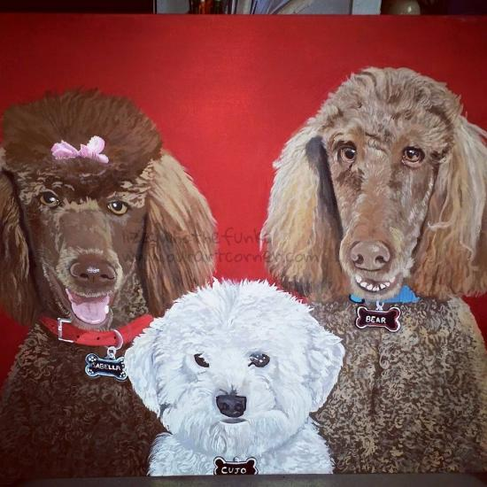 Commission painting. Three poodles