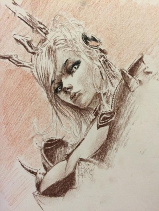 Sketch with charcoal