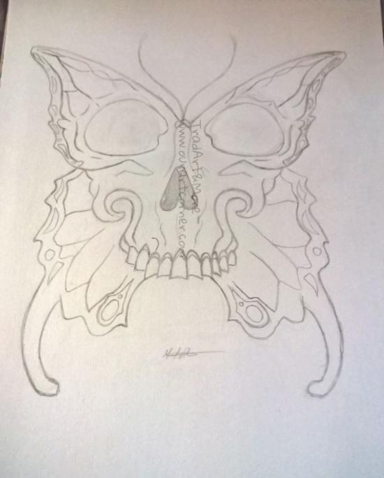 Purple Butterfly Skull (SKETCH)