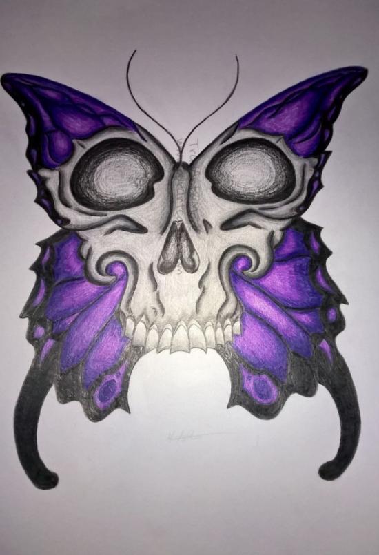 Purple Skull Butterfly (Finished)