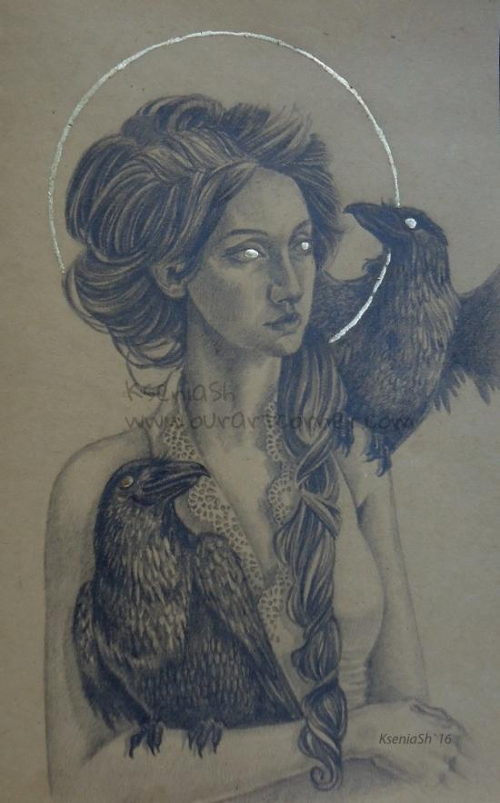 girl and two ravens WIP