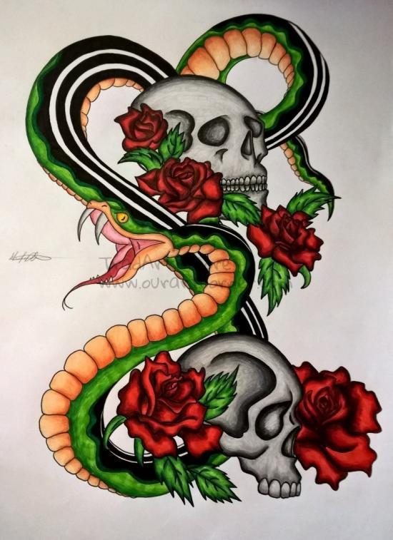 Snake Skull (Inked/Pencil Redo)