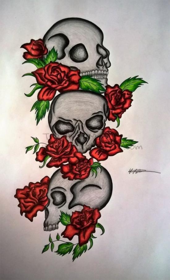 Rose Skulls (Inked/Pencil Redo)