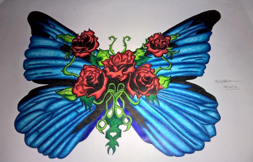 Rose Butterfly (Inked/Pencil Redo Finished)