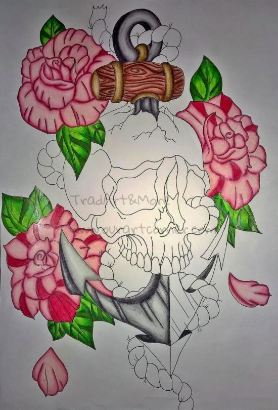 Skull Rose Anchor (Partly coloured)