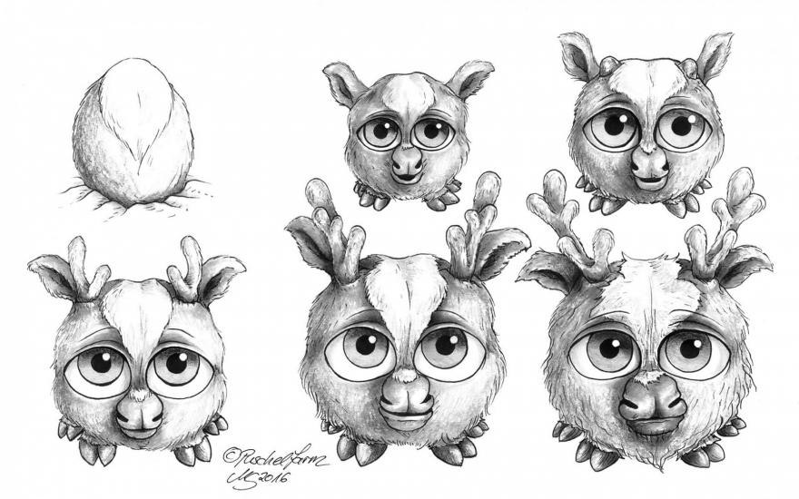Reindeer Puschel (Rentierpuschel) - Sketches