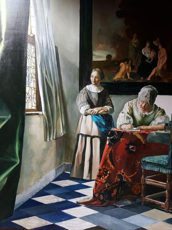 A Lady Writing a Letter, with her Maid
