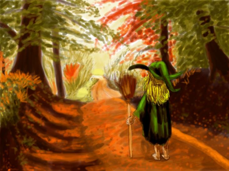 Strolling Witch of Autumn Woods (Digital Painting)