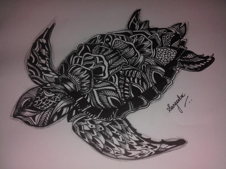 Zentangle Turtle - Pencil and marker pen artwork