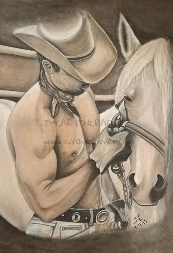 Hot Cowboy and Horse