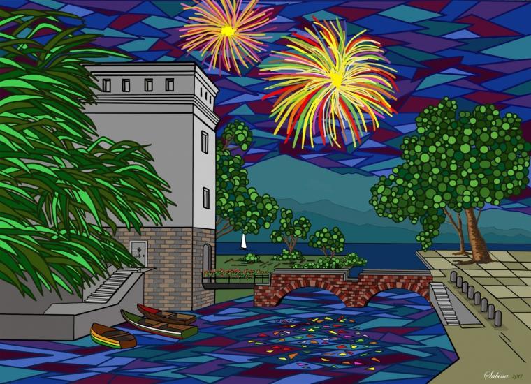 firework on Garda Lake