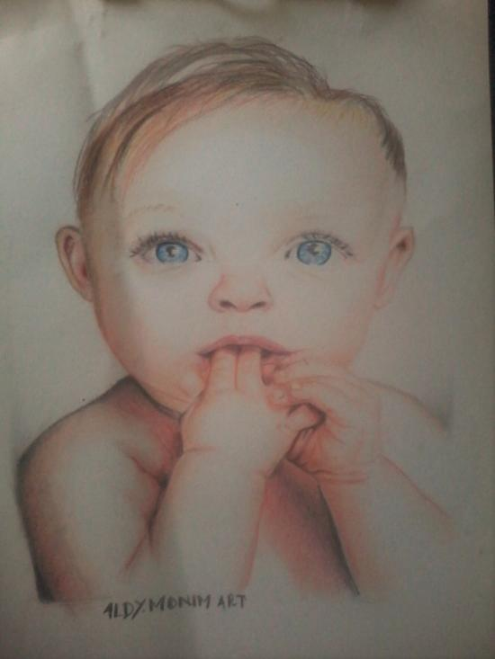The baby with blue eyes