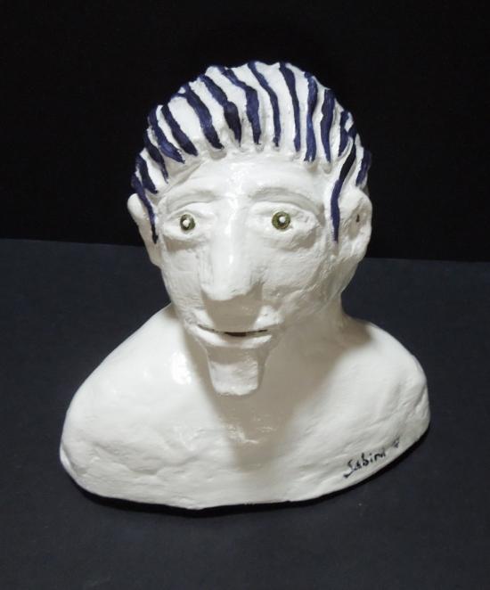 Man with blue hair