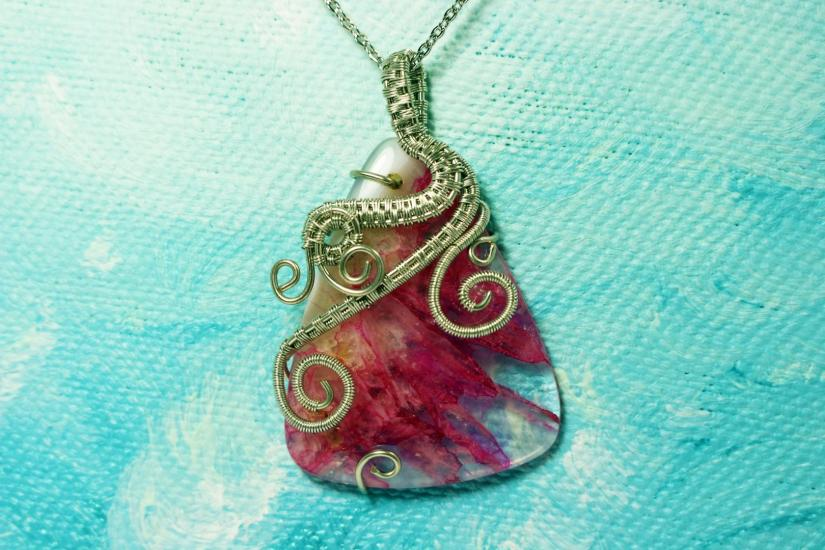 Wire wrapped pink agate pendant