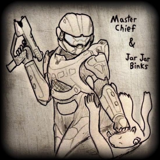 Master Chief punching Jar Jar Binks