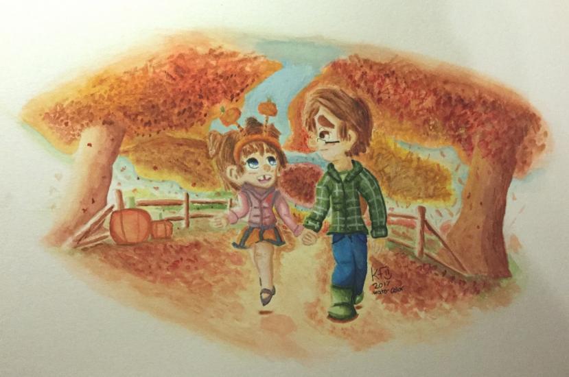 Watercolor-Mason-and-Leela-a-Beautiful-Autumn-Day