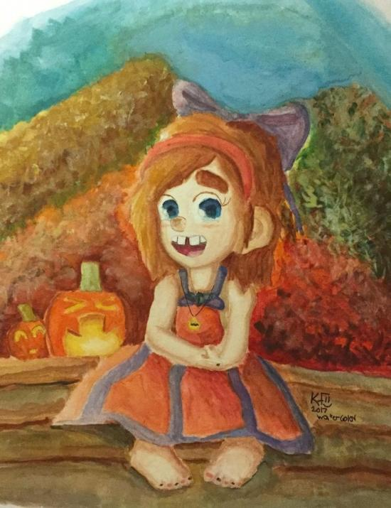 Leela-a-beautiful-autumn-evening-watercolor