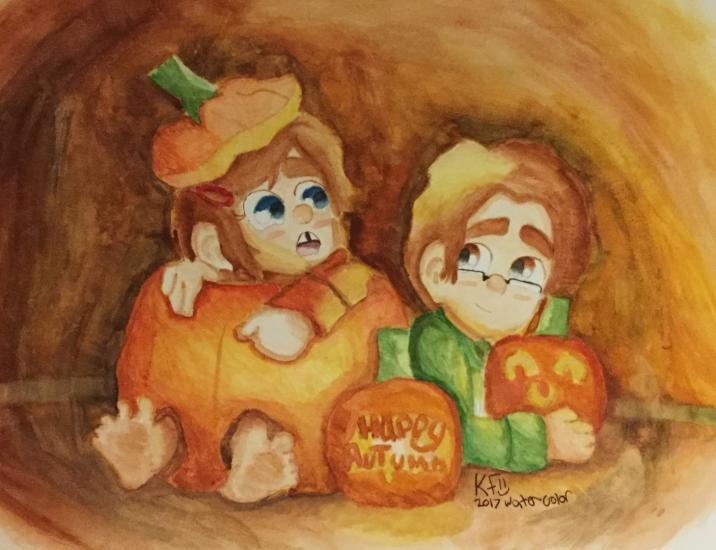 A Pumpkin Party Mason and Leela