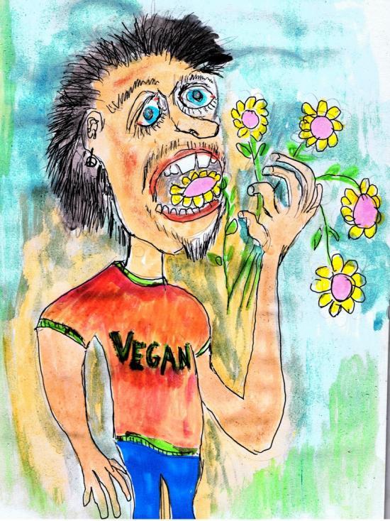 vegan man eating plant