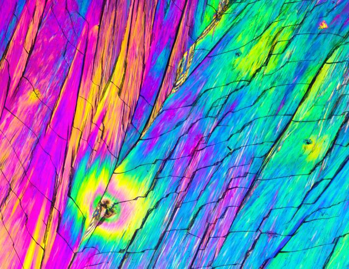 Polarized Tartaric Acid Crystals Under A MIcroscop