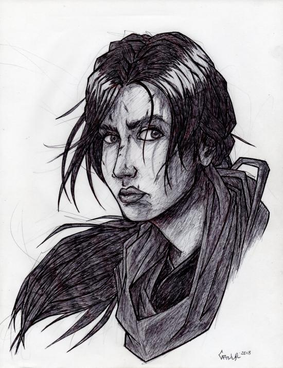 Lara Croft face sketch from Rise of Tomb Raider