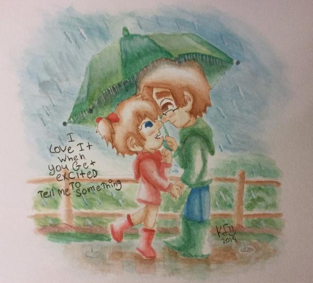 Sibling love in the rain Mason and Leela