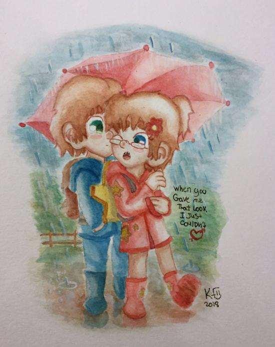 Love in the rain Mark and Leela