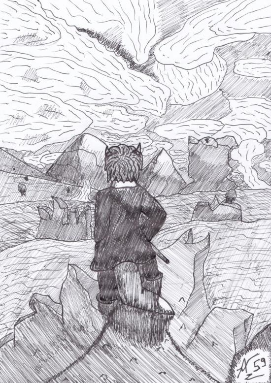 Le Dragon Voyageur contemplant une mer de nuages