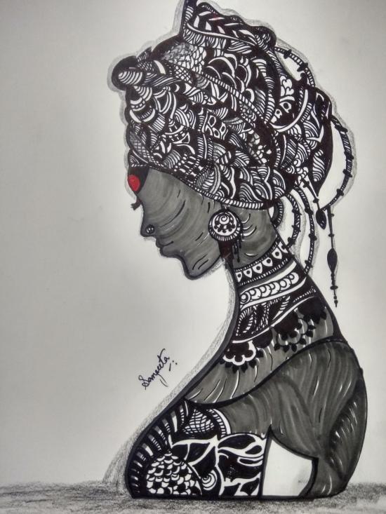 Tribal lady inked in marker pen