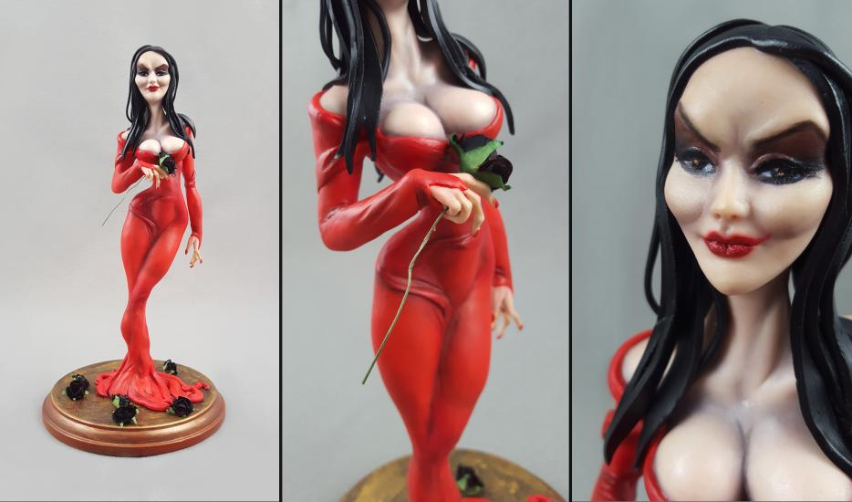 Morticia Addams in red version statue/sculpture1