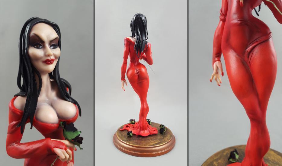 Morticia Addams in red version statue/sculpture2