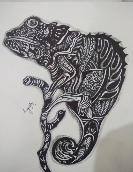 Zentangle reptile