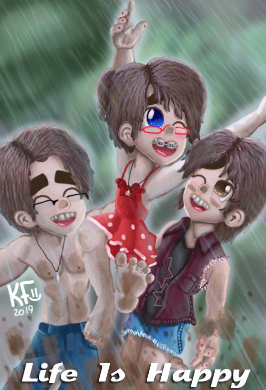 Muddy Rainy Fun Mason Leela and Madelyn