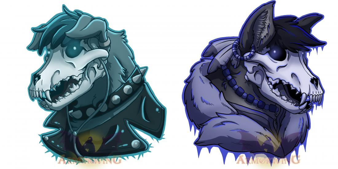 Punk Skulls: Wolf and Dog