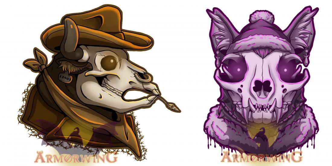 Punk Skulls: Cat and Cow