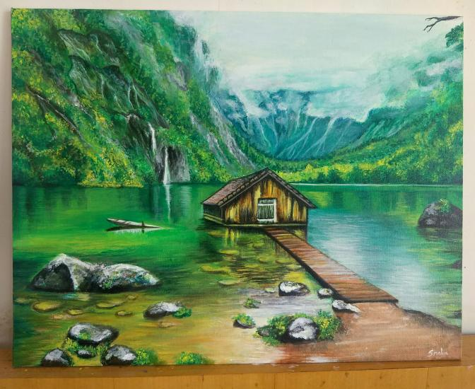 Old boat-house on Obersee lake