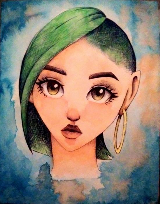 Chica de pelo verde