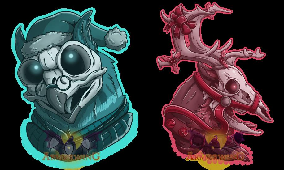 Punk Skulls: Reindeer and Owl