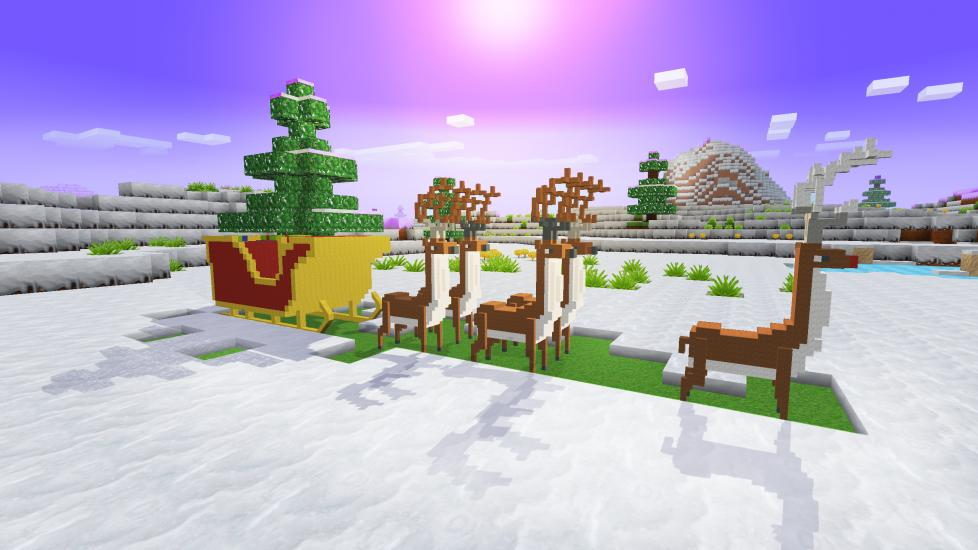 Rudolph Deer, Santa's Carriage, - Happy New Year w