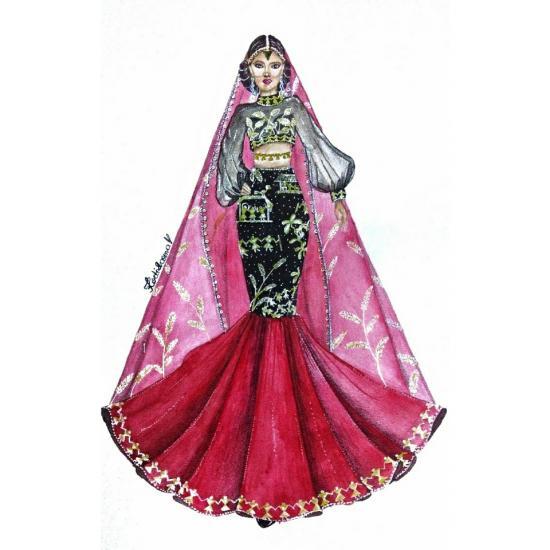 Folk art fashion illustration
