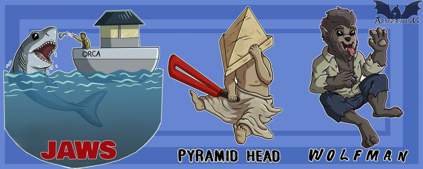 Scary to Cute: Jaws, Pyramid Head, Wolfman