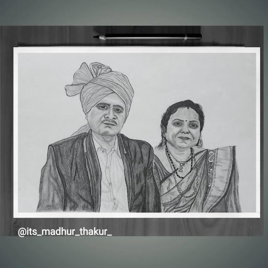 Sketch of uncle and aunt by pencil