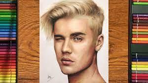 Realistic Justin Bieber colour drawing